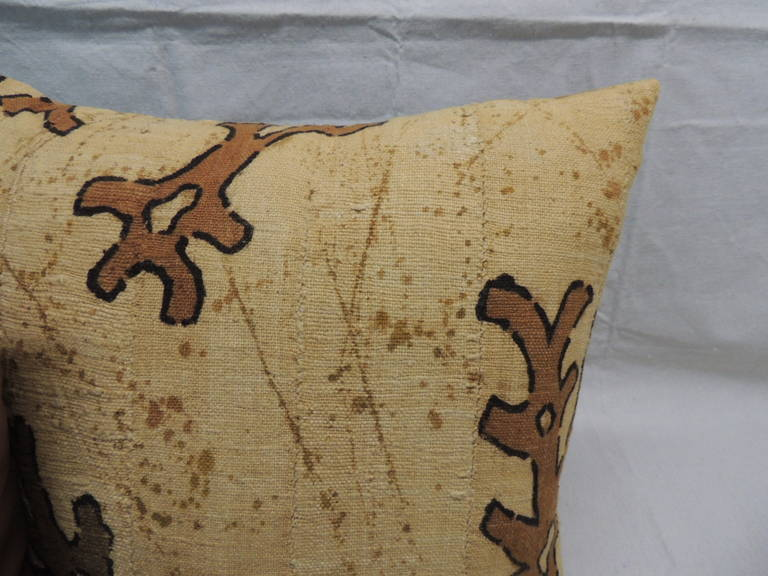 Tribal CLOSE OUT SALE: Pair of Yellow & Brown African Mud Cloth Decorative Pillows For Sale