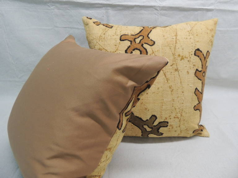 Hand-Crafted CLOSE OUT SALE: Pair of Yellow & Brown African Mud Cloth Decorative Pillows For Sale