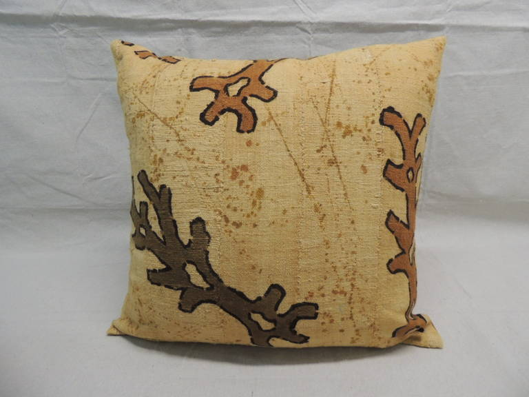 South African CLOSE OUT SALE: Pair of Yellow & Brown African Mud Cloth Decorative Pillows For Sale