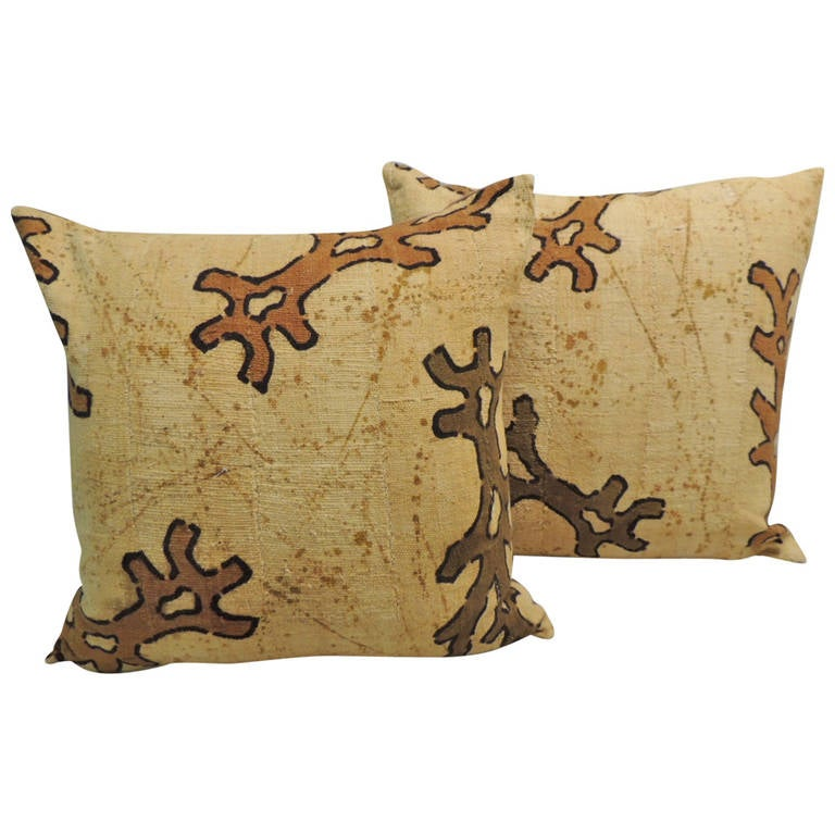 CLOSE OUT SALE: Pair of Yellow & Brown African Mud Cloth Decorative Pillows For Sale