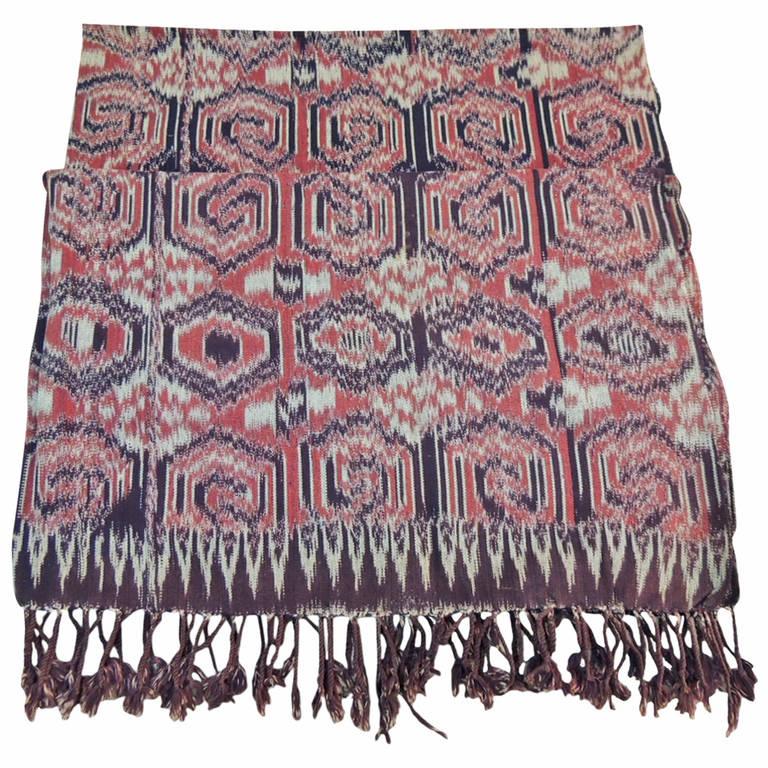 Large Vintage Red Ikat Tribal Pattern Textile Panel with Fringes