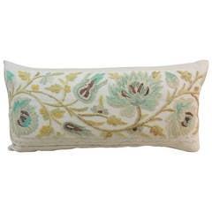 Antique Textile Crewel Work Bolster Pillow