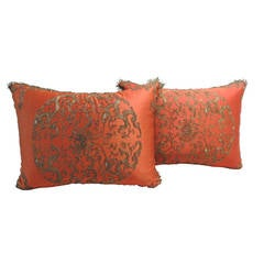 Pair of Chinese Orange Silk Embroidered with Metallic Threads Pillows