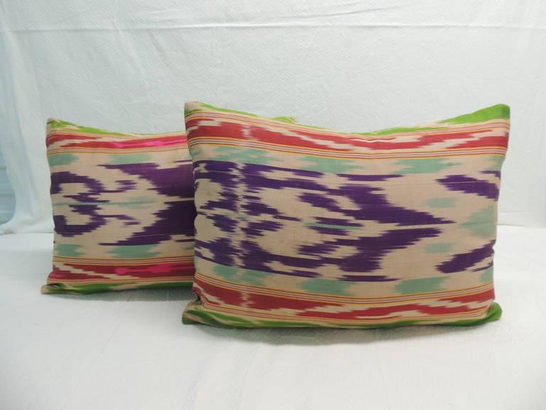Pair of Silk Ikat Purple Lumbar Decorative Pillows For Sale at 1stdibs