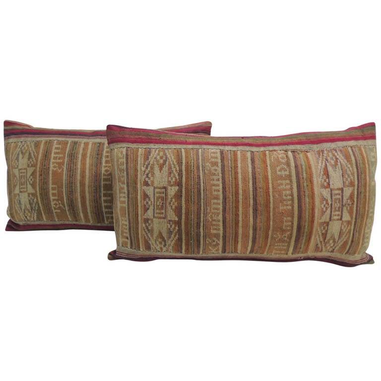 Tribal Woven Multi-Color Ikat Lumbar Decorative Pillows