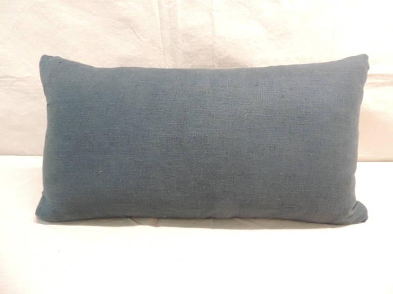 Decorative Pillows Indigo : Japanese Indigo Stripe Linen Lumbar Decorative Pillow For Sale at 1stdibs