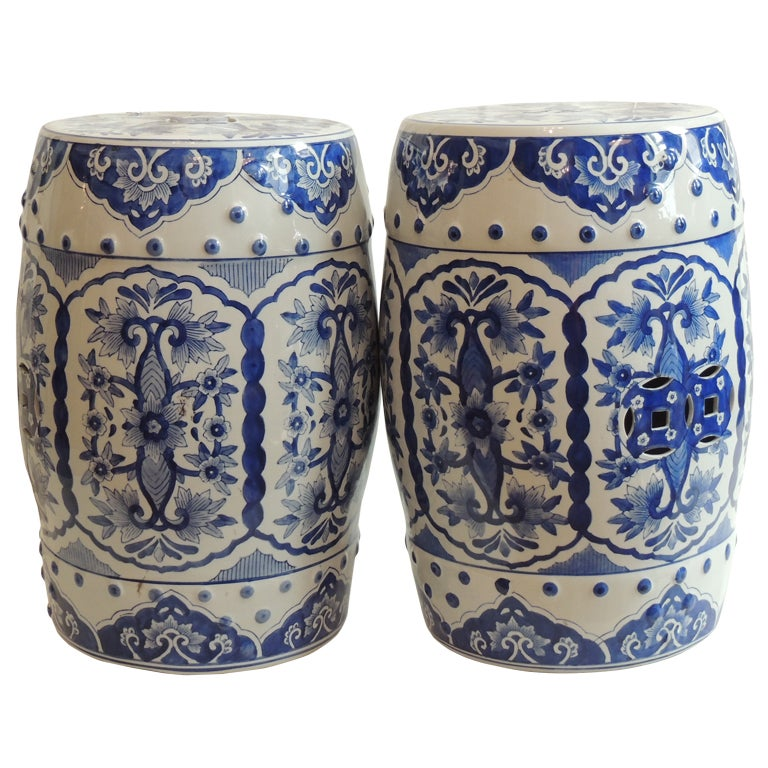 Vintage Blue And White Glazed Ceramic Garden Stools At