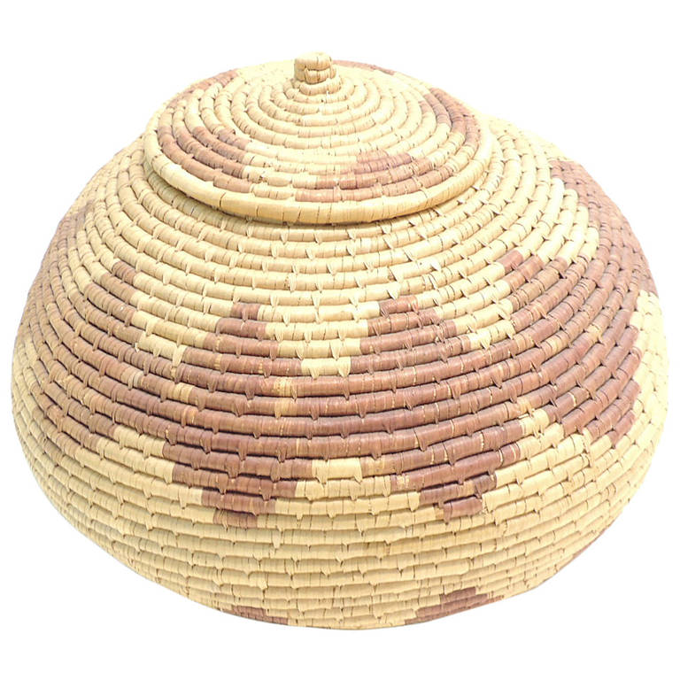 African Baskets With Lids: Vintage African Basket With Lid. At 1stdibs