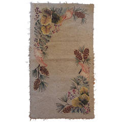 Large Antique Hook Rug with Pine Cones and Sea Shells