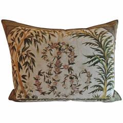 Antique Tapestry Monogram Pillow.