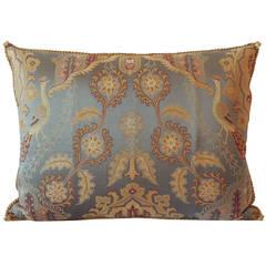 Vintage Brocaded Textile Silk Pillow.