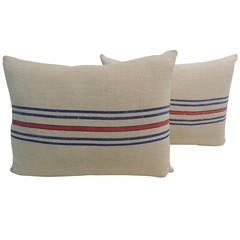 Pair of French Provincial Stripe Linen Pillows