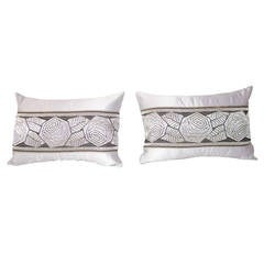 Pair of Art Deco Antique Textile Trim Lumbar Pillows