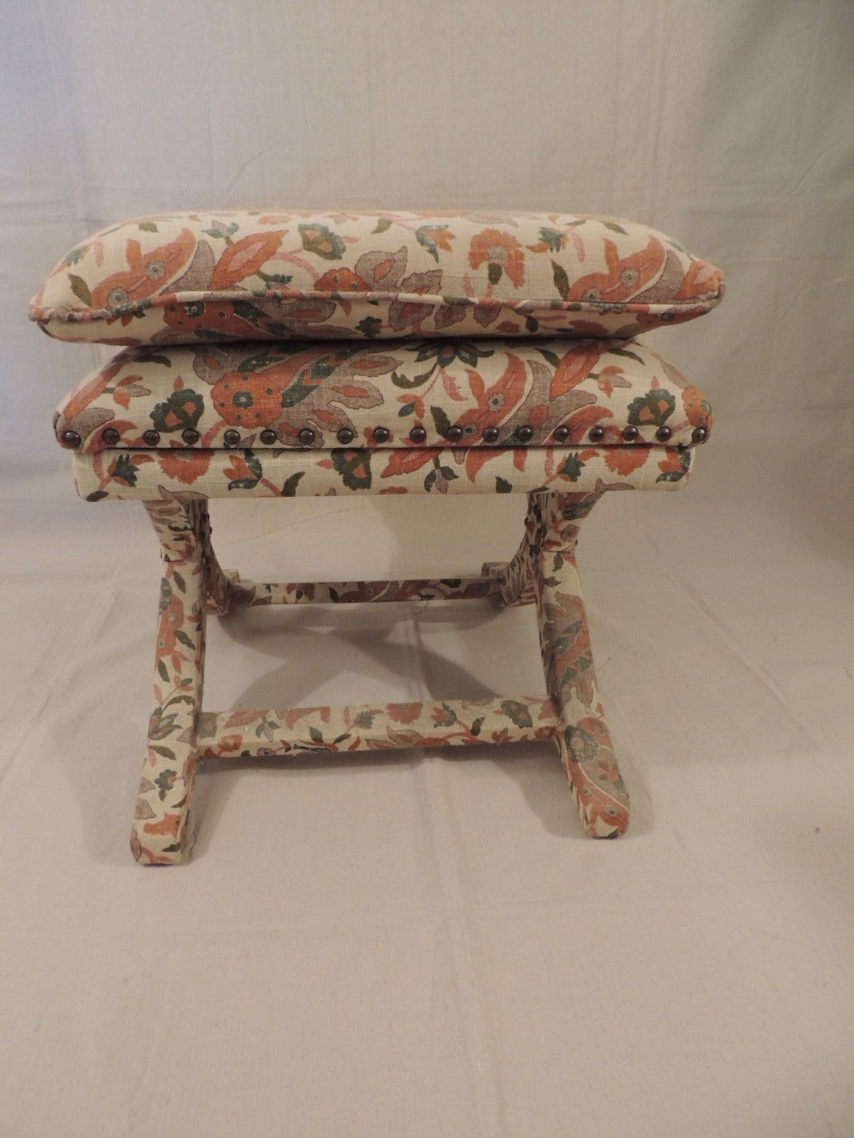 Indian Paisley Upholstered X Bench At 1stdibs