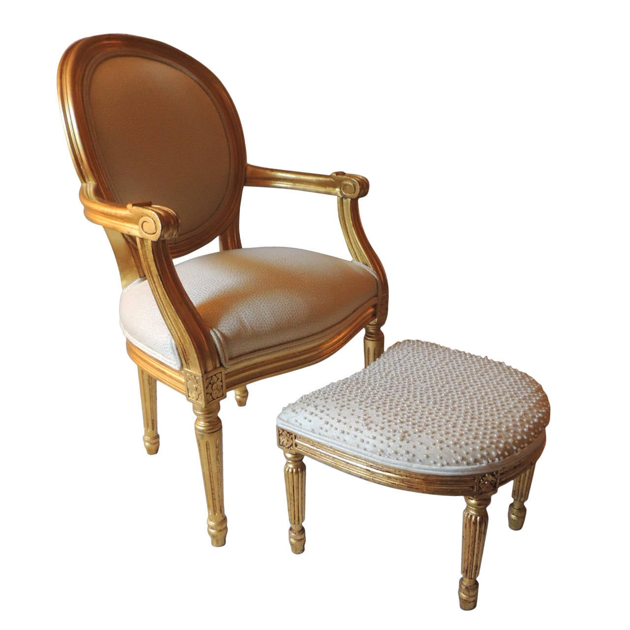 Petite Child Size French Bergere Chair With Ottoman At 1stdibs
