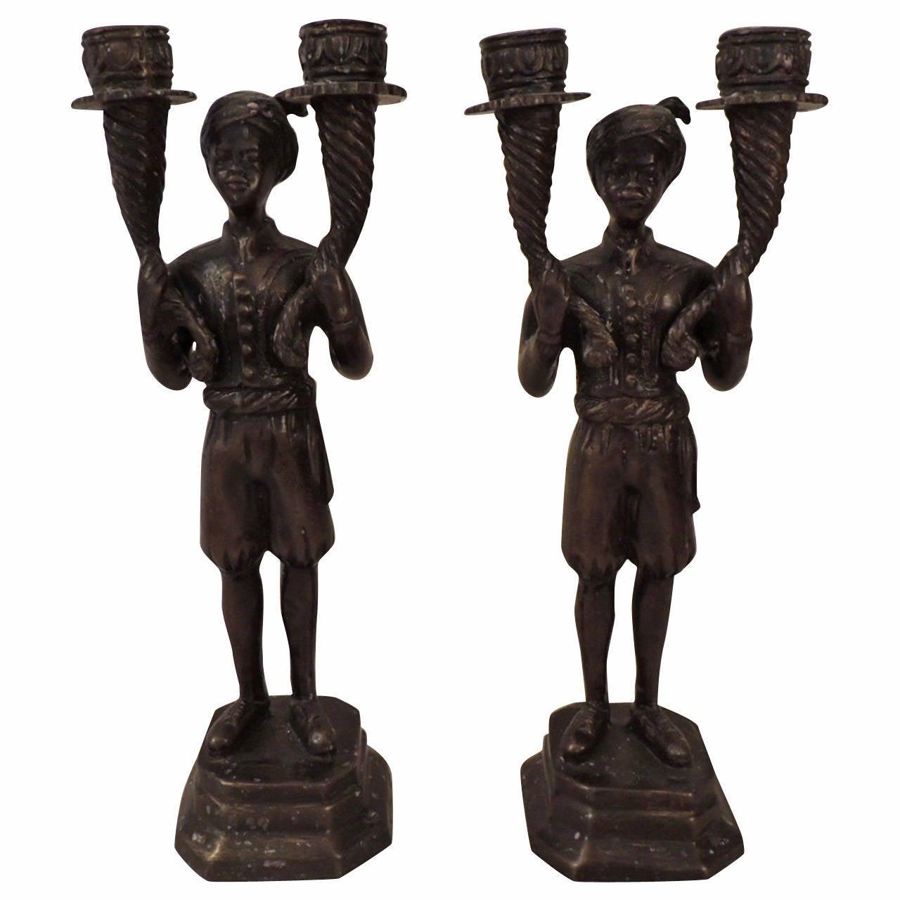 Pair of Bronze Blackamoors Candle Holders