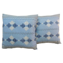 Pair of Greek Isle Blue and White Embroidery Pillows