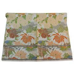 Vintage Floral Silk Obi Textile Panel
