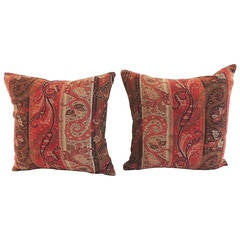 Pair of Antique Textile Stripe Kashmir Red Paisley Pillows