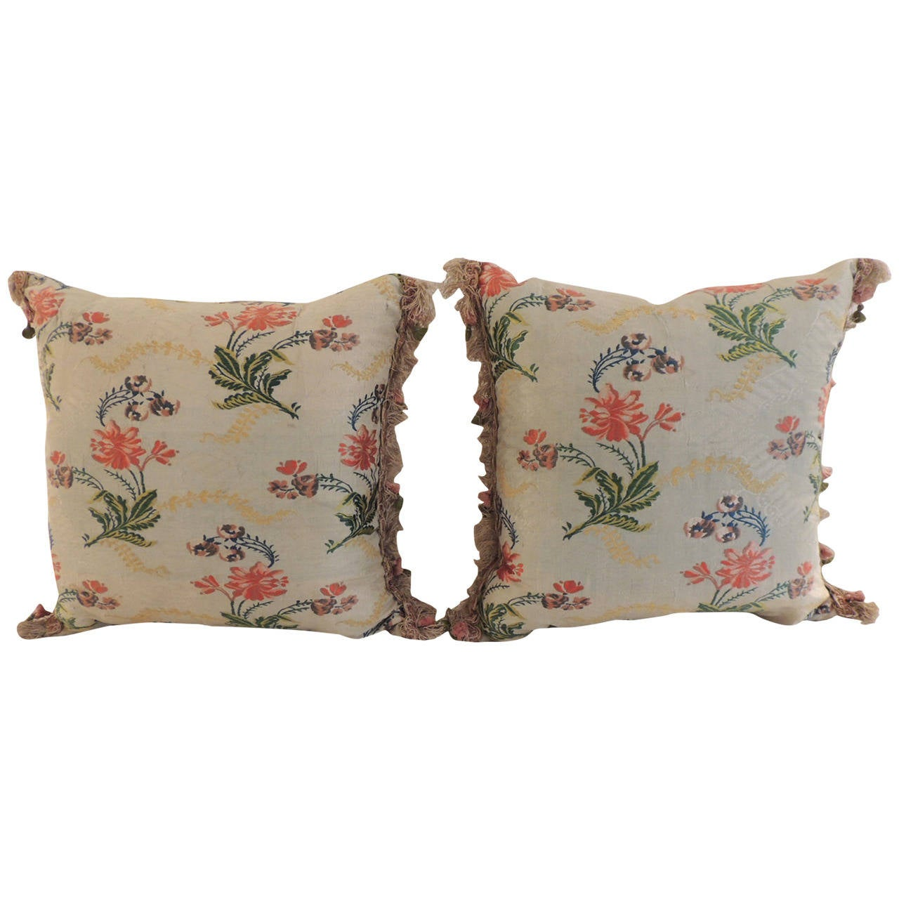 Pair of Antique Silk Brocade Floral Decorative Pillows with Tassel Trim For Sale at 1stdibs