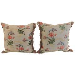 Pair of Antique Silk Brocade Floral Decorative Pillows