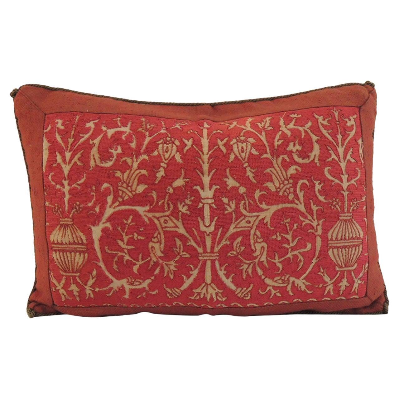 Turkish ottoman furniture - Red Linen Embroidery Lumbar Pillow At 1stdibs