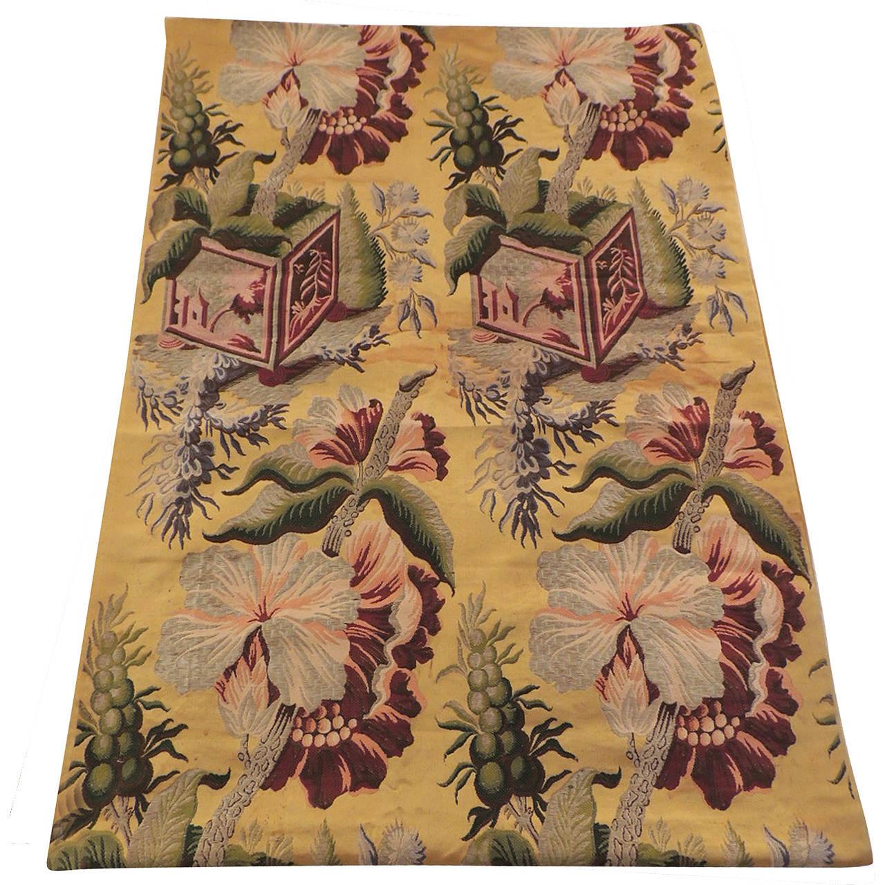 Silk Floral Antique Textile Panel