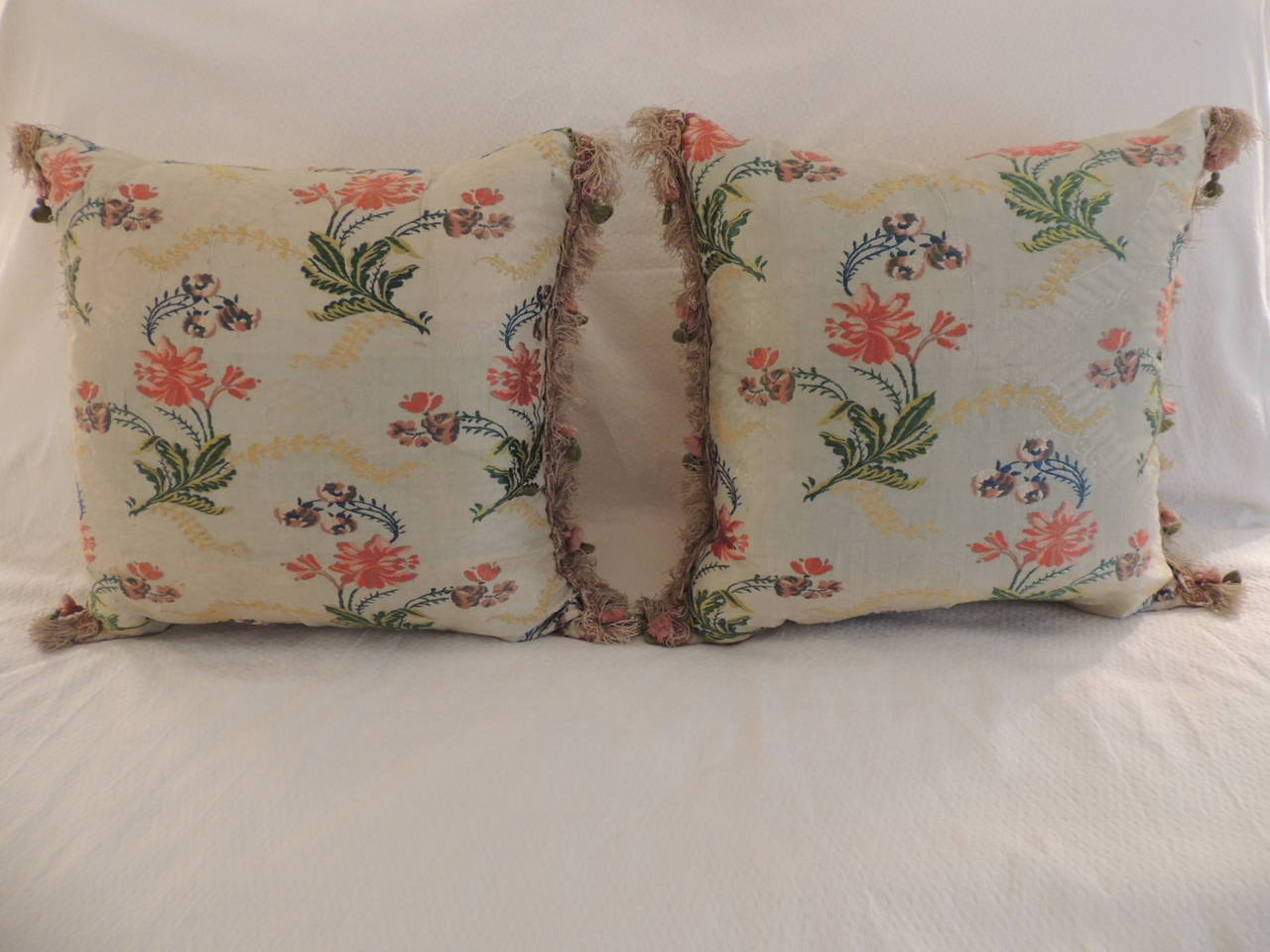 Decorative Pillows With Tassels : Pair of Antique Silk Brocade Floral Decorative Pillows with Tassel Trim For Sale at 1stdibs