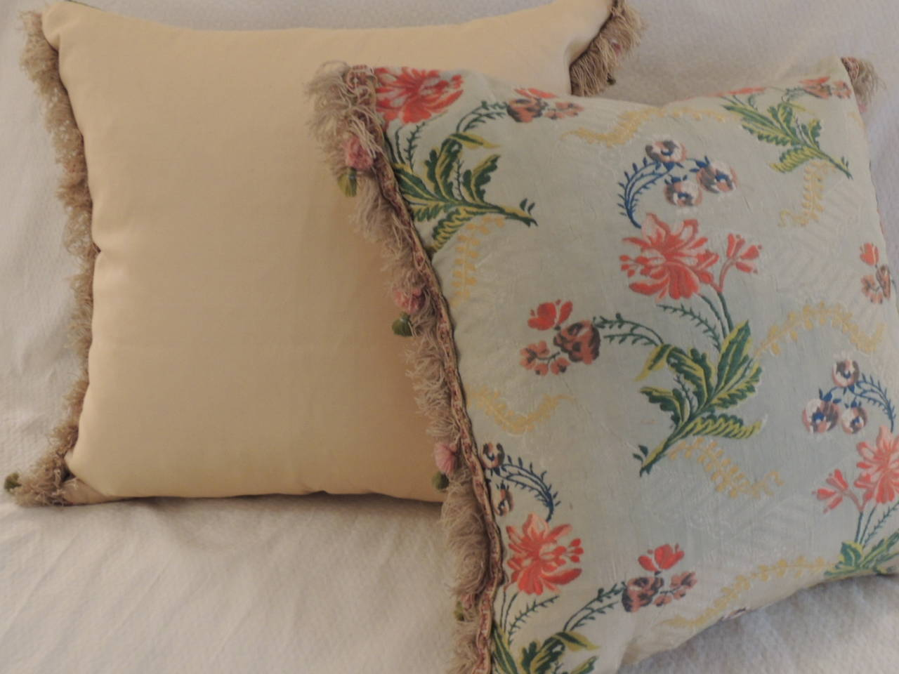 Decorative Pillows Trim : Pair of Antique Silk Brocade Floral Decorative Pillows with Tassel Trim For Sale at 1stdibs