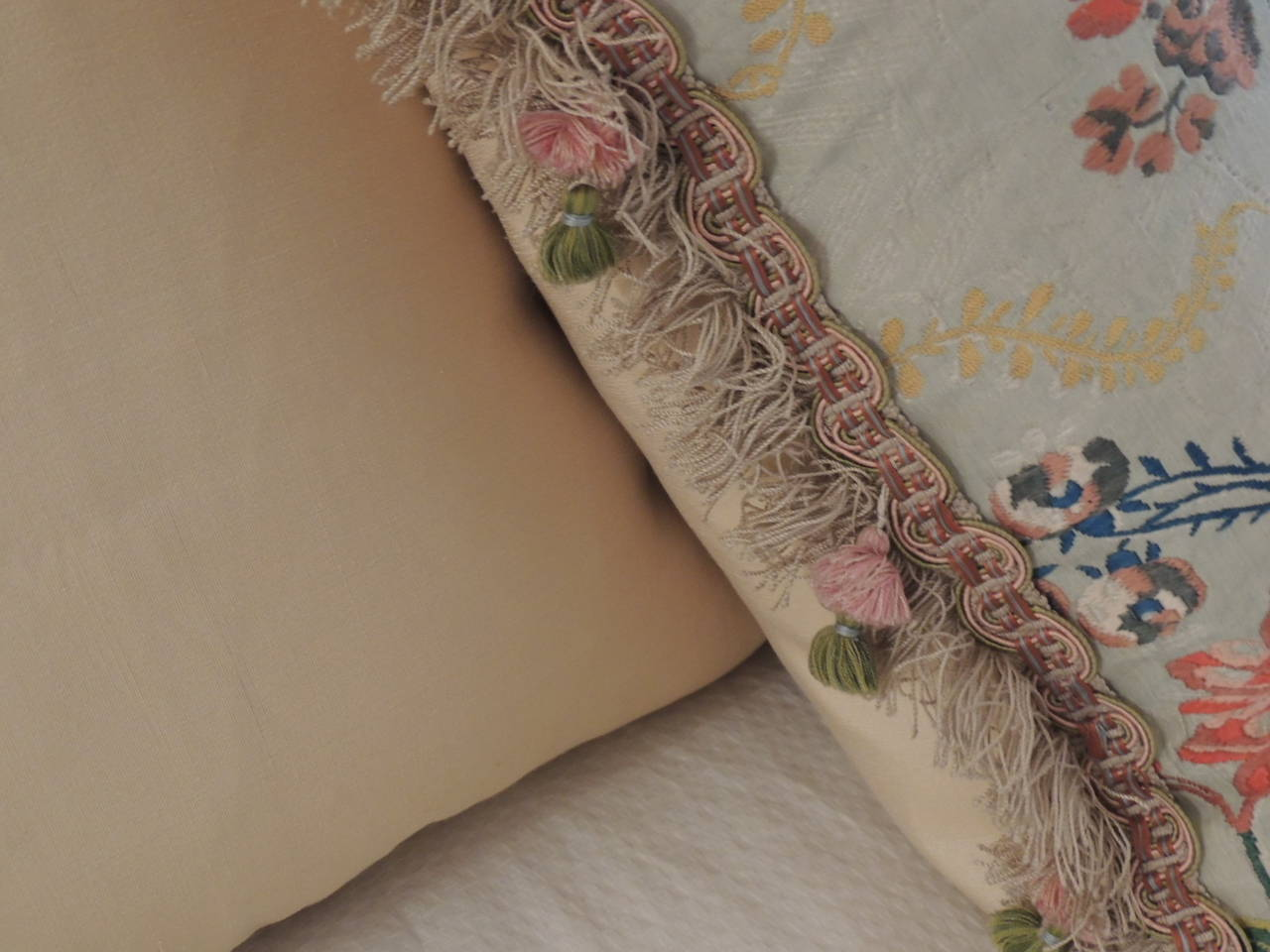 French Pair of Antique Silk Brocade Floral Decorative Pillows  For Sale