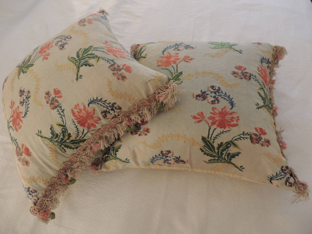 Hand-Crafted Pair of Antique Silk Brocade Floral Decorative Pillows  For Sale