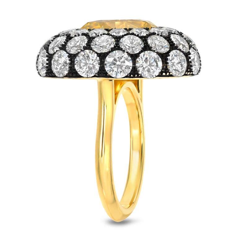 Tamir Unheated 5.56 Carat Yellow Sapphire Diamond Ring 2