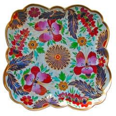 Antique Worcester Porcelain Clematis Pattern Square Dish