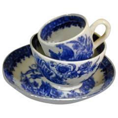 Antique Caughley Soft Paste Porcelain Miniature Trio