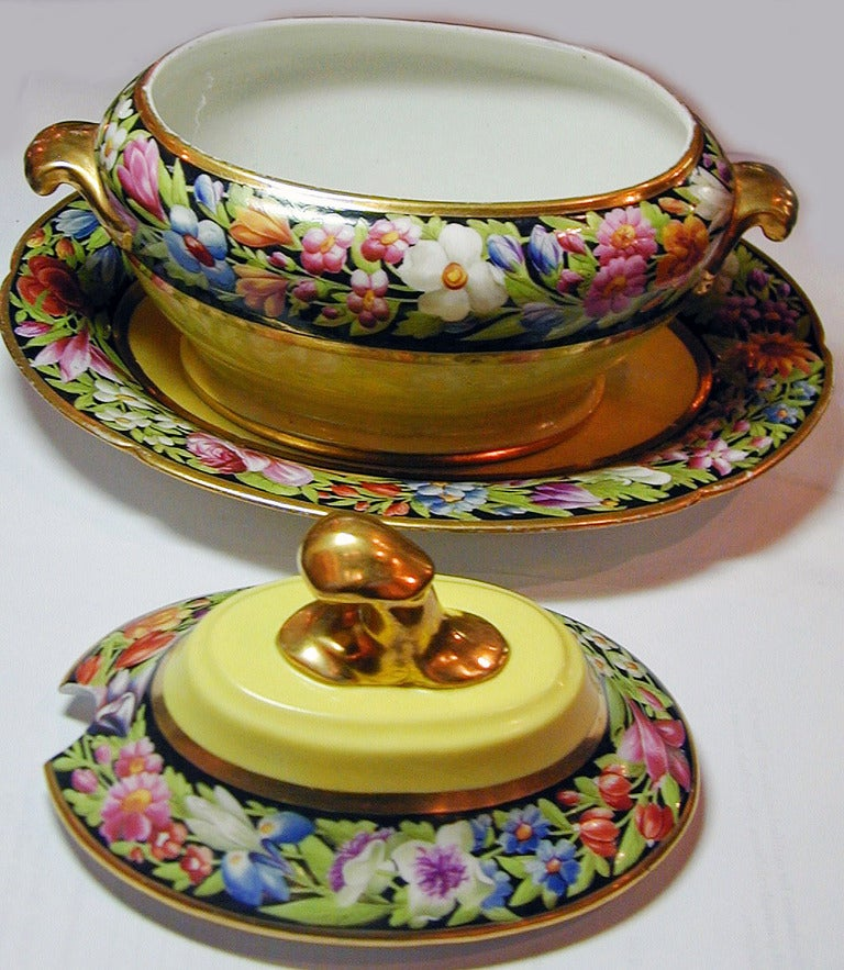 Pair of yellow ground Coalport porcelain sauce tureens with bands of beautifully painted flowers will brighten any dining room.
