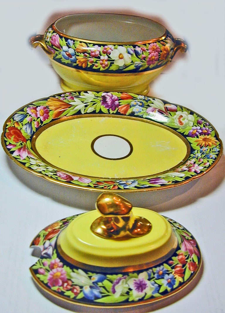 English Antique Pair of Coalport Porcelain Sauce Tureens For Sale