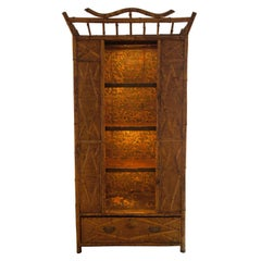 Bamboo and Seagrass 19th Century Victorian Armoire with Open Shelves