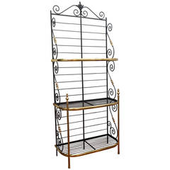 19th Century French Brass and Iron Bakers Rack