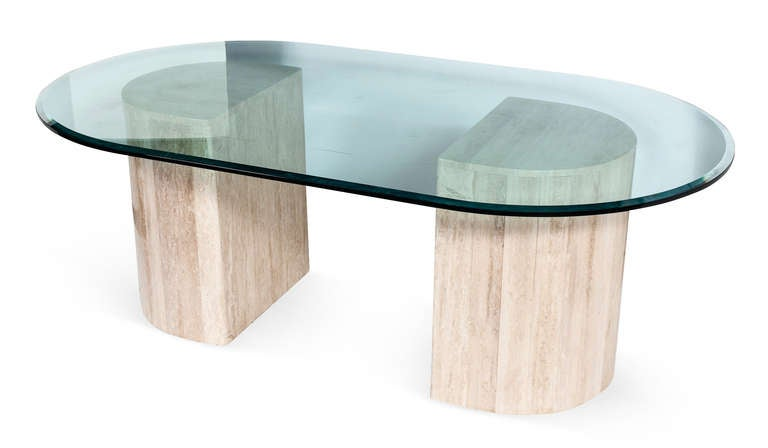 1980s Demilune Travertine Dining Table With Beveled