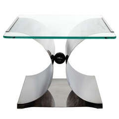 1970s X-Base Bent Stainless Steel Side Table by François Monnet