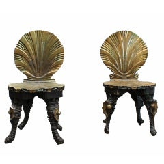 A Pair of Carved Wood Grotto Chairs
