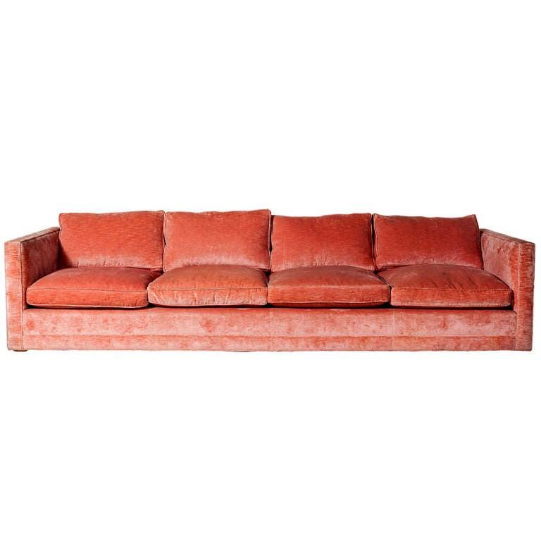 An Oversized Tuxedo Style Sofa in Clarence House Silk Velvet at 1stdibs