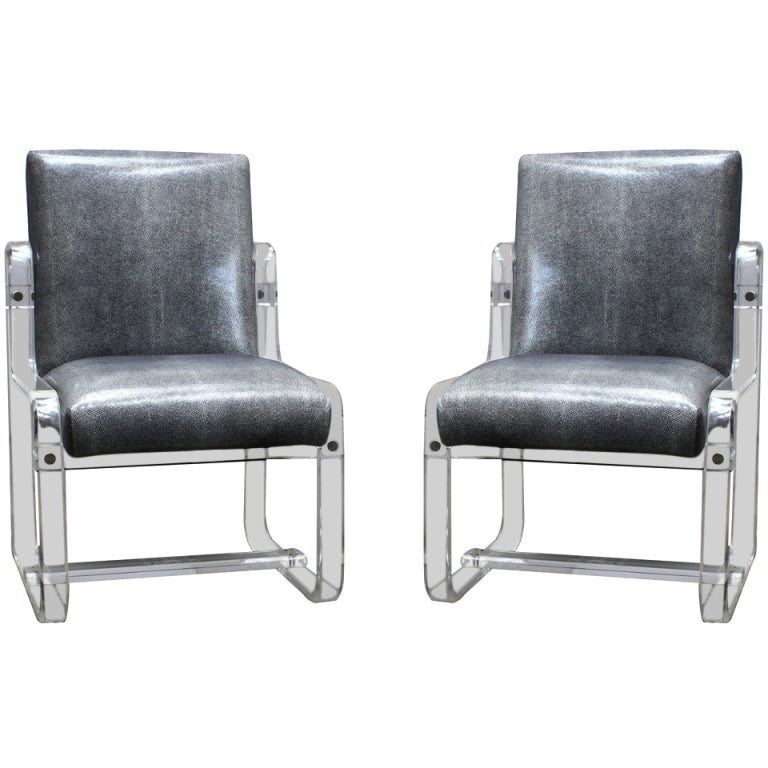 Pair Of 1980s Lucite Dining Chairs At 1stdibs