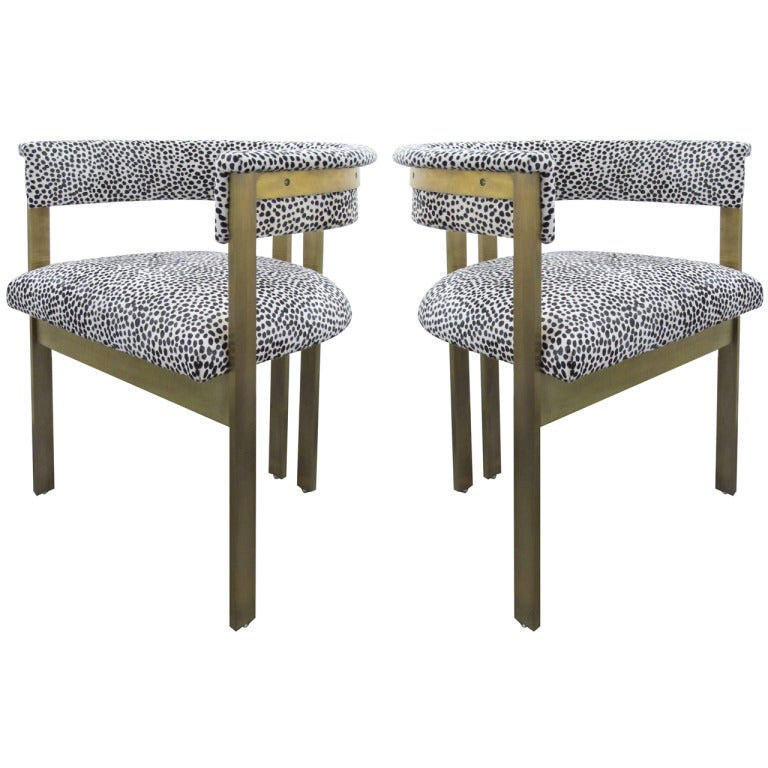 A Pair Of Elliott Chairs In Spotted Hair On Hide Leather By Kelly Wearstler