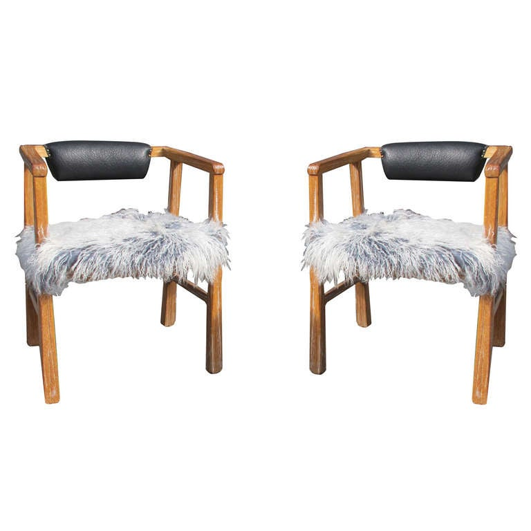 Unique Armchairs: A Unique Pair Of Cerused Armchairs In Chinese Goat Fur At