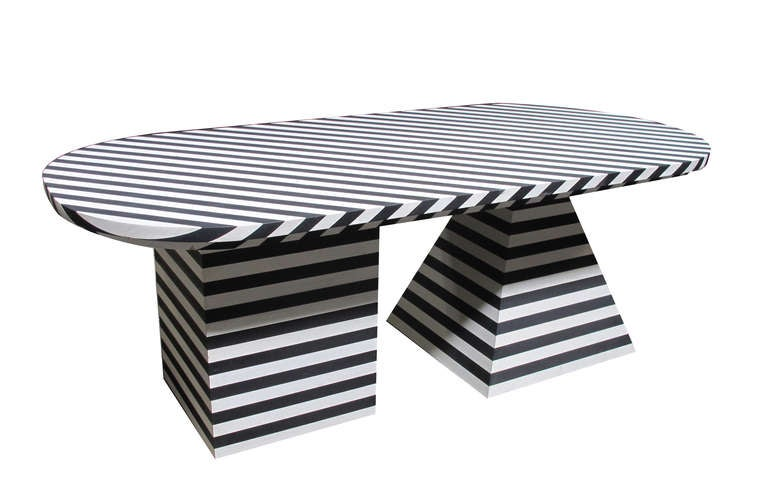 Black and White Striped Dining Table by Kelly Wearstler