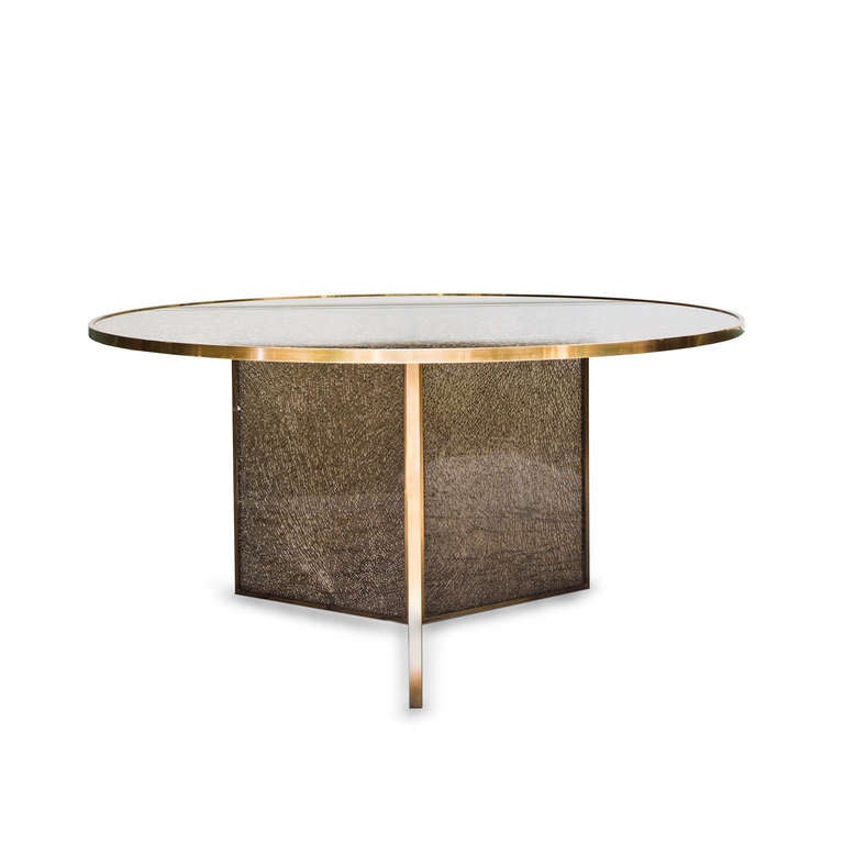 Fractured dining table at 1stdibs - Broken glass dining table ...