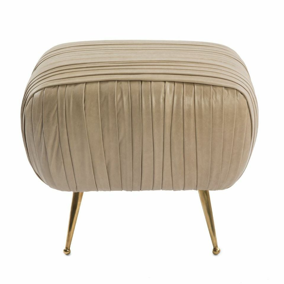 The Delicate Lines Of This Ottoman Are Created By A Signature Ruched  Leather Detail. Full