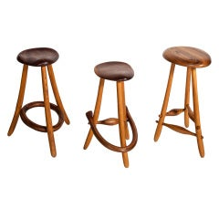 A Set of Hand Carved California Studio Stools