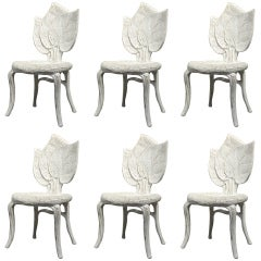 "A Set of Six Handcarved ""Leaf"" Dining Chairs"